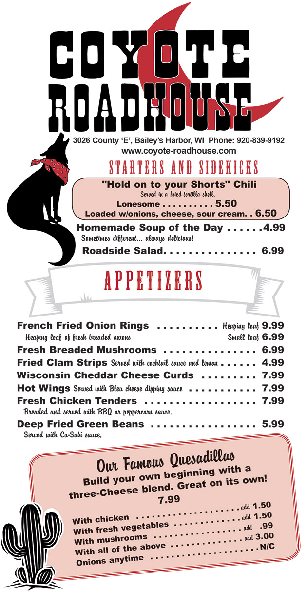 Coyote Roadhouse Menu,Coyote Roadhouse Menu, Door County Wisconsin Restaurants, Baileys Harbor, Places to eat in Door County, Kid Friendly,Kids Menu,Steaks, Grouper, All You Can Eat